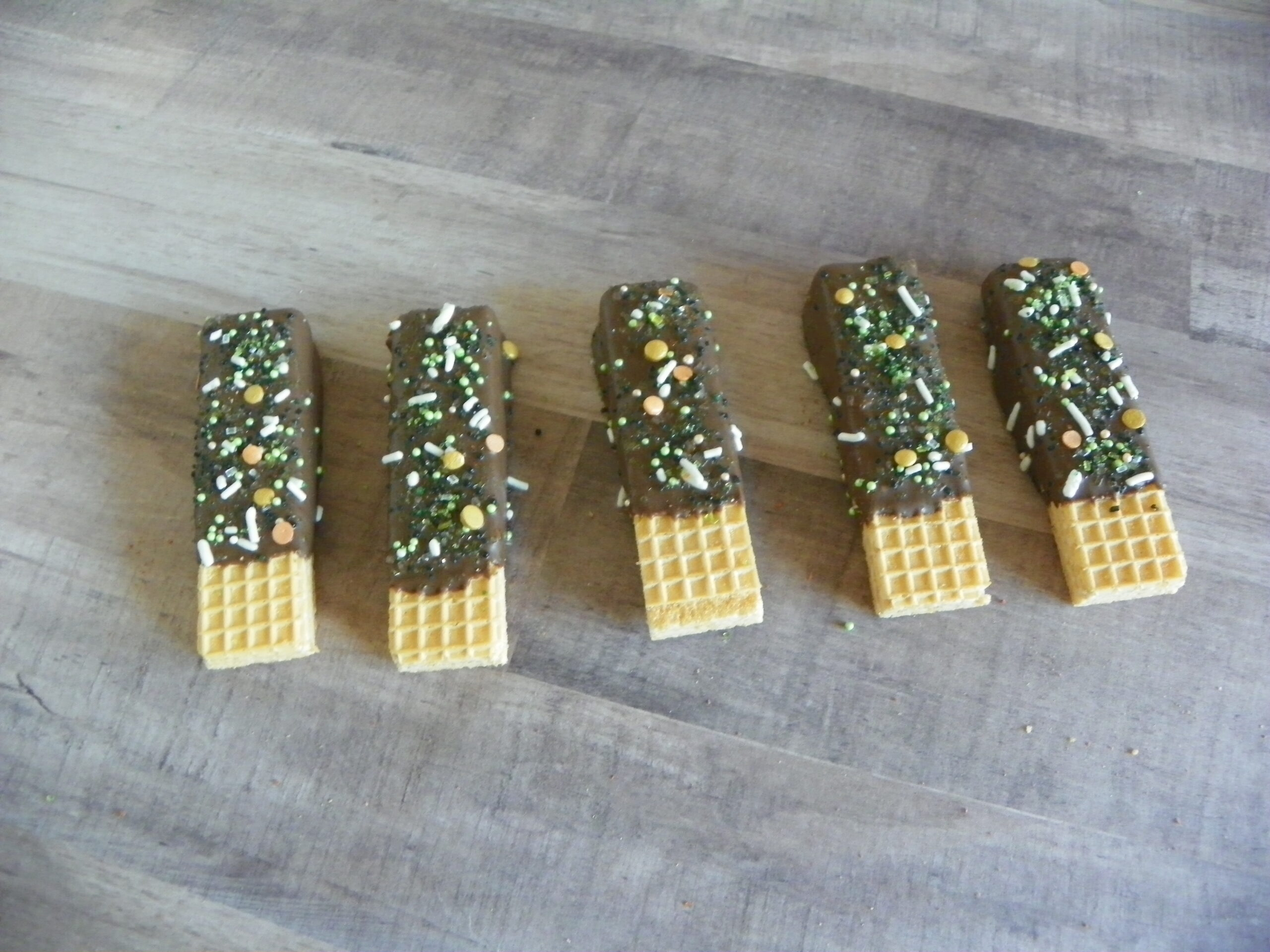 Chocolate Covered Vanilla Wafers with Sprinkles